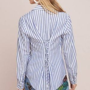 Anthropologie Pilcro Tie Back pin Striped button up blouse size 0